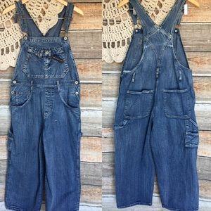 Vintage Carolina Blues Wide Leg Cropped Overalls